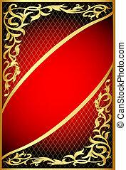 gold(en), filet, ornement, arrière-plan rouge