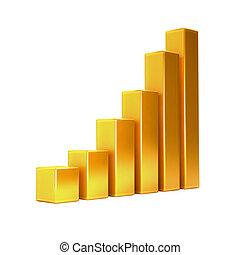 Golden Finance Bar Up. 3D rendering illustration