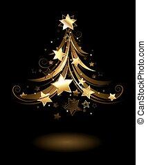 Golden fir with stars