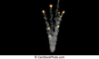 Golden Fireworks and smoke,seamless