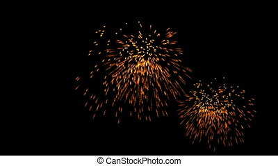 Golden fireworks at holiday night, celebration, seamless loop