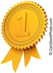 Golden first place award ribbon
