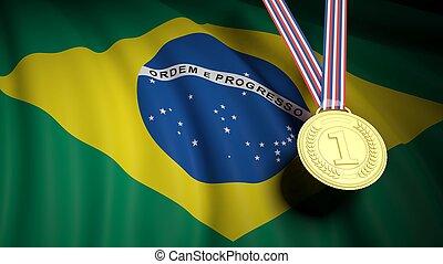 Golden first place medal on waving Brazil flag