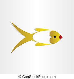 golden fish st valentine love symbol  design element