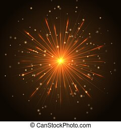Golden flash with rays - Colorful explosion of a star with ...