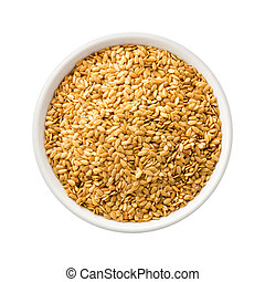 Golden Flax Seed in a Ceramic Bowl