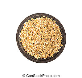 Golden flax seeds on a white background