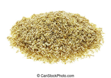 golden flaxseed meal - isolated small heap of golden flax ...