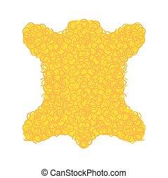 Golden fleece legendary isolated. Yellow fur ram magic...