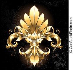artistically painted gold Fleur de Lis on a dark background.