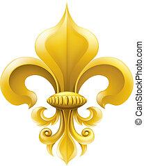Golden fleur-de-lis decorative design or heraldic symbol.