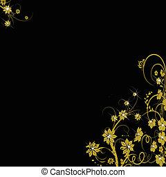 golden floral background on black
