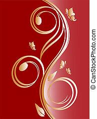 golden floral design - vector illustration of a red and...