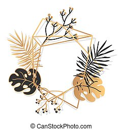 Golden floral frame tropical banner closeup vector