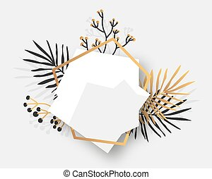Golden floral frame tropical white banner vector