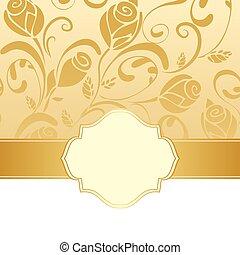 Golden floral invitation background