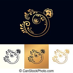 Golden floral logo for your company.