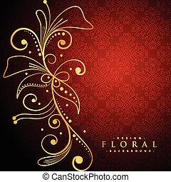golden floral on red background