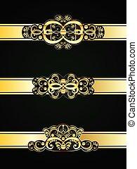 Golden Floral Ornament - Collection of vintage decorative...