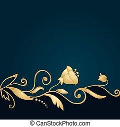 Golden floral ornament on green background