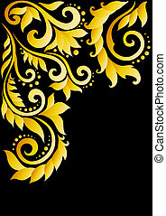 Golden floral ornament with leaves and swirls in the old style on a black background.