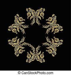 Golden floral pattern on black