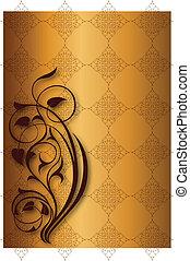 Golden floral patterns on golden