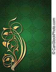 Golden floral patterns on green