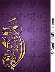 Golden floral patterns on purple