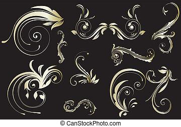Golden floral vintage pattern
