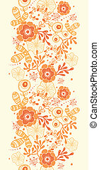 Golden florals vertical border seamless pattern background