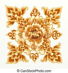 Golden Flower of Damask Seamless