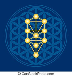 Golden Flower of Life in Tree of Life illustration