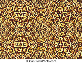 Golden Flower of Seamless Pattern, Vintage traditional Thai style background  Textures.