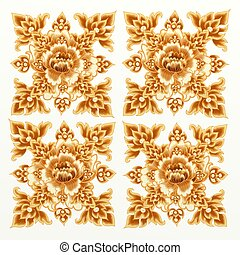 Golden Flower Pattern of Damask