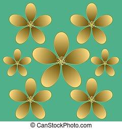 Golden flower seamless pattern