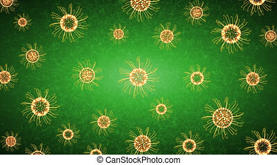 Golden Flowers Floating On Green Background
