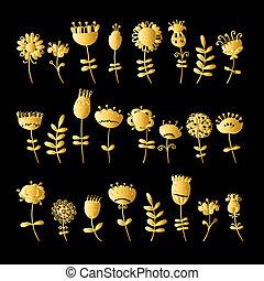 Golden flowers set for your design