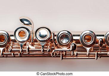 Golden flute. isolated on brown background