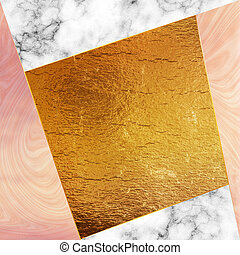 Golden foil and marble - Trendy design template with marble...