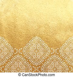 Vector golden foil background template for cards, hand drawn backdrop for invitations and posters, with ornate border white lace and copy space.
