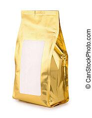 Golden foil food bag with blank label