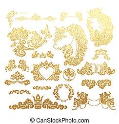 Golden foil wedding vignettes