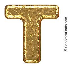 Golden font. Capital letter T