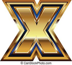 Golden Font Letter X