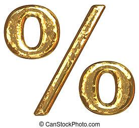 Golden font. Percent sign
