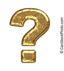 Golden font. Question mark - Gold question mark as bars. ...