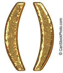 Golden font. Symbol parenthesis