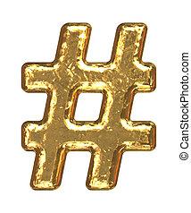 Golden font. Symbol sharp