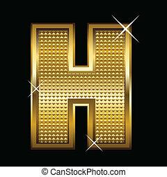 Golden font type letter H